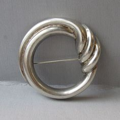 Modernist Sterling Silver Vintage Circle Pin, Signed Bayanihan