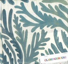 coral pattern fabric in teal and green