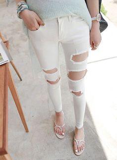 Pantalon blanc troué - Super pour l'été