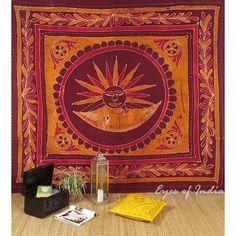 Large Batik Burgundy Bedspread Bed Sheet Wall Hanging Tapestry