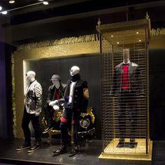 Givenchy, Balmain, Roberto Cavalli, Giuseppe Zanotti, VAR/CITY, Giorgio Armani and Dita in one of the ELITE Man latest shop windows