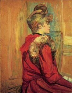 """Girl in a Fur, Mademoiselle Jeanne Fontaine"" -- 1891 -- Henri de Toulouse-Lautrec -- French -- Oil on board -- No further reference provided."