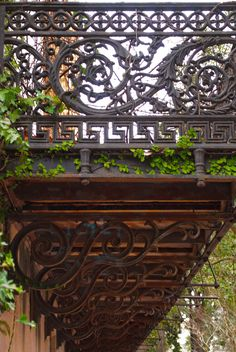 Ornate Ironwork on a balcony in Savannah, Georgia, February 2012.