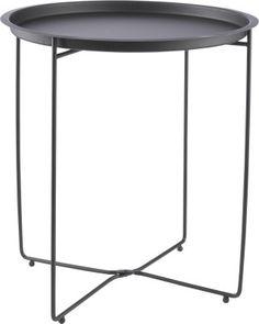 Musta, metallinen sivupöytä