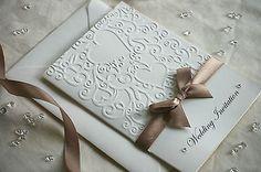 30 Embossed Personalised Wedding/Evening Invitations Handmade - Satin diamante[Hearts,with initials embossed on envelo