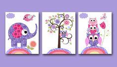 Owl Decor Owl nursery Baby Girl Nursery Art Nursery wall art baby nursery kid room decor Kid Art set of 3 11x14 elephant nursery rose purple