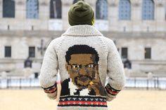 Bodega Malcom X sweater Bodega Store, Long Sleeve Sweater, Men Sweater, Human Rights Activists, Malcolm X, Tribal Patterns, Cool Sweaters, Zip Ups, Custom Design