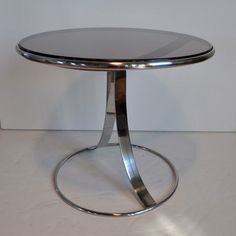 Warren Platner; Smoked Glass and Chromed Steel Side Table for Steelcase, c1970.