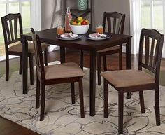 5 Piece Dining Set Small Apartment Kitchen Table Home Comfort Chairs Furniture  #ComfortDiningSet