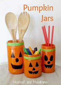 Meatloaf and Melodrama: Painted Pumpkin Jars - If you can wield a can of spray paint and use a marker, you can easily make these!