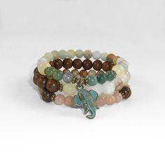 Mainashiki Stack Healing Bracelets Energy Gemstones Jewelry - Amazonite, Jade…