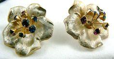 Vintage Kramer Signed Gold Tone Metal Multi Color Crystal Flower Clips Earrings | eBay