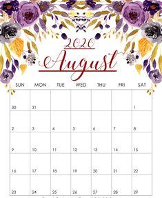 Floral August 2020 Calendar Printable