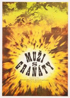 Vintage poster designed by Zdeněk Virt for the 1973 Yugoslavian film Men with Grenades 1973. #MoviePoster #Poster #GraphicDesign