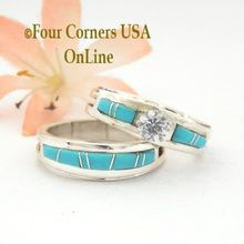Size 8 1/2 Turquoise Engagement Bridal Wedding Ring Set Native American Wilbert Muskett Jr WS-1550 Four Corners USA OnLine Navajo Silver Jewelry