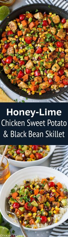Mexican Honey Lime Chicken Sweet Potato & Black Bean Skillet - delicious one pan recipe! Perfect way to eat lots of vegetables at once. Protein rich dinner that makes great leftovers. Veggie Skillet Recipe, Skillet Chicken, Mexican Food Recipes, Dinner Recipes, Dinner Ideas, Honey Lime Chicken, Cooking Recipes, Healthy Recipes, Cooking Ideas