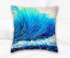 DECORATIVE THROW PILLOW 14 x14 Huge Wave & Surf Art. by SAXONLYNN #ocean #homedecor