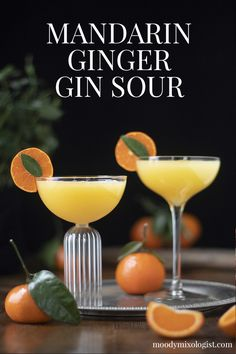 Mandarin Ginger Gin Sour - Moody Mixologist A fresh and spicy gin cocktail made with sweet satsuma mandarins, lime, and spicy ginger syrup. Easy Gin Cocktails, Cocktail Drinks, Alcoholic Drinks, Beverages, Triple Sec Cocktails, Ginger Cocktails, Gin Cocktail Recipes, Sour Cocktail, Liquor Drinks