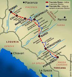 VIA DEGLI ABATI www.viadegliabati.com Si raggiunge un dislivello complessivo di 6000 metri nei 190 chilometri della 'Via Francigena di montagna' che corre lungo l'Appennino tosco-emiliano. Percorsi impegnativi tra sentieri, mulattiere, valli e crinali che partono da Bobbio, nella provincia di Piacenza e arrivano a Pontremoli, in Toscana.