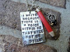 Hey, I found this really awesome Etsy listing at https://www.etsy.com/listing/88154407/the-writer-sylvia-plath-quote-necklace