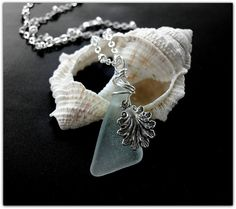 HOLIDAY SALE Light Aqua Blue and Antique Shell by GlassSparrows