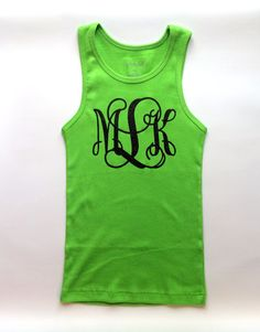 Lime green Glitter Monogrammed Tank top Personalized tank top by PoshPrincessBows1, $19.99