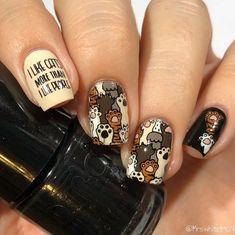 Make an original manicure for Valentine's Day - My Nails Cat Nail Art, Cat Nails, Animal Nail Art, Nail Drawing, Nail Stamping Plates, Pretty Nail Art, Best Acrylic Nails, Cute Nail Designs, Nail Arts