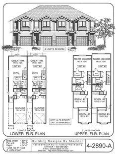 6 plex 4 2nd floor apartment house plan ideas for Apartment plans 4 plex