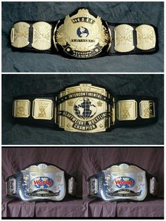 Championship Belts from the WWF (World Wrestling Federation Championship, Intercontinental Championship, Tag Team Championship)