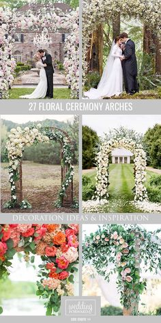 27 Floral Ceremony Arch Decoration Ideas ❤ In our gallery of wedding arch decoration ideas we have details of flower decor, whole composition and awesome photos of lovely couples under arches. See more: http://www.weddingforward.com/wedding-arch-decoration-ideas/ #weddings #decorations
