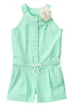 NEW NWT Gymboree ICE CREAM PARLOR 1-Pc Mint Speckled Romper Flower Corsage 5 5T #Gymboree #Everyday