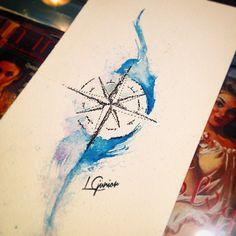 Rosa dos ventos   Compass tattoo #tattoo #watercolor #watercolortattoo #aquarela #aquarelatattoo #rosa-dos-ventos #rosadosventos #rosa #ventos #ink #lcjunior #compasstattoo #compass