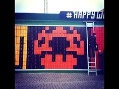 #HappyWall - Interactive pixel streetart in Copenhagen. Just west of our hotel!