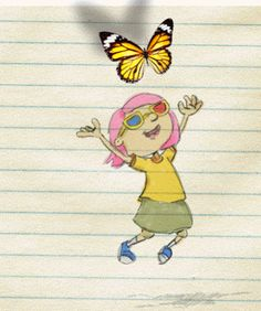 """MEMORIES""  Drawing on a little sheet of a little girl who in my animation gets up and tries to grab the butterfly.Animated painting by Michele Giammaria (MIKI 4)."