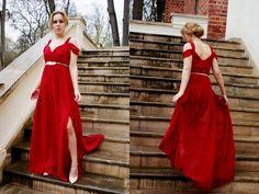 Czerwona sukienka maxi | mowmimoniska