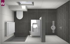 Idée décoration Salle de bain Het idee van veel mensen: een kleine badkamer met grote tegels. Dit is helemaal