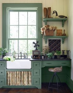 """existing trim is this color.  we're paiting the walls """"Dylan Velvet"""" a dulled out chartruese..or, mustard yellowish/puke green, if you prefer. it's mahvelous! Shabby Chic Kitchen, Farmhouse Kitchen Decor, Country Kitchen, Kitchen Dining, Country Farmhouse, Farmhouse Design, Green Kitchen, Farmhouse Cabinets, Craftsman Kitchen"""