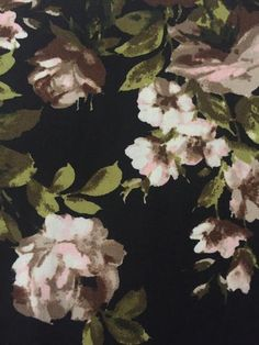 Winter Ivory Blush Roses with Olive and Brown on Black Background: Brushed Poly Fabric Brushed Poly FabricPerfect for Leggings and Tops!  This brushed poly is s