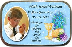 First Communion Party Favors Idea - these large, inexpensive photo mint tins are a hit with kids and grown ups. Fill with your favorite candy for sweet a keepsake! More 1st communion favors and invitations at http://www.photo-party-favors.com/