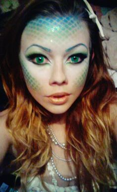 Halloween Mermaid Makeup - love the use of colored contacts!