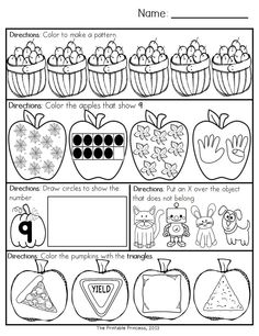 October morning work for Kindergarten. 20 pages of literacy and 20 pages of math activities. Weekly repetitive directions help students become independent workers.