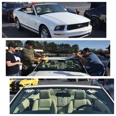 Guys applying my Georgia Peaches Mustang Club banner on Christine