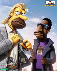 Lenny and Carl - Grand Theft Otto: The Simpsons as Gritty 80s Crime Drama by Dan LuVisi