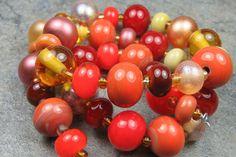 Into the Fire Lampwork Art Beads ~Harvest Reds~ Artist handmade glass beads SRA