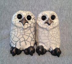 OOAK Raku bébé chouette céramique sculpture par SmilesUnlimited