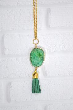 Green Druzy Tassel Pendant