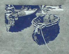 "Bath art? Mevagissey Boats Lino cut print. 8"" x 9"""