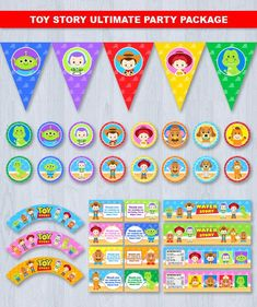 Toy Story Party Set Combo Digital File INSTANT DOWNLOAD ----------------------- ★★ Package Included ★★----------------------------------- You will received 5 PDF files of the following: * 20 Cupcake Toppers & 3 Cupcake Wrappers in 1 PDF File, neatly layout in 8.5 x 11 sheet * 23