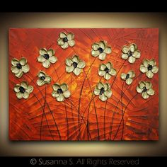 Gold Flowers on Red, original impasto painting by ModernHouseArt on etsy