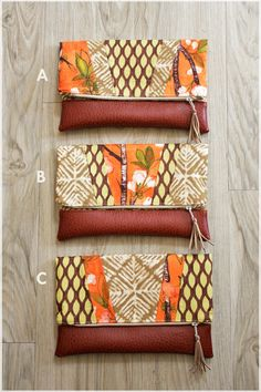 Mixed Print Fold-over Clutch in Cherry Blossoms